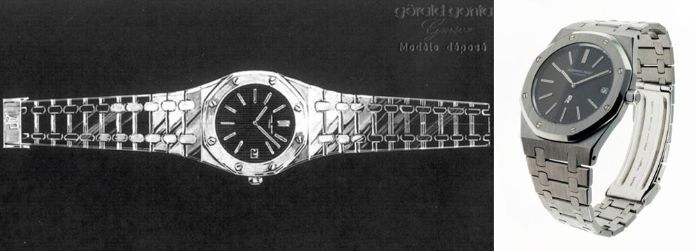 Часы Royal Oak, 1972 год. Эскиз Royal Oak, выполненный Джеральдом Джентой